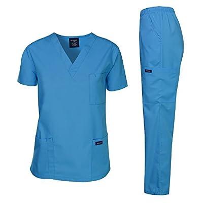 Dagacci Scrubs Medical Uniform Unisex Scrubs Set Medical Scrubs Top and Pants (Medium, Turquoise)