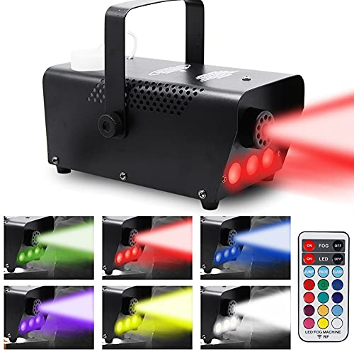 Best fog machine - ATDAWN Fog Machine with Lights, Wireless Remote Control, Smoke Machine with 7 Colors Lights for Stage Party Effect, Halloween Wedding Special Event