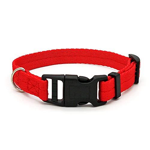 Moonpet - Collare per cani in nylon, resistente, regolabile, resistente, per cani di taglia piccola, media e grande, taglia S, colore: Rosso