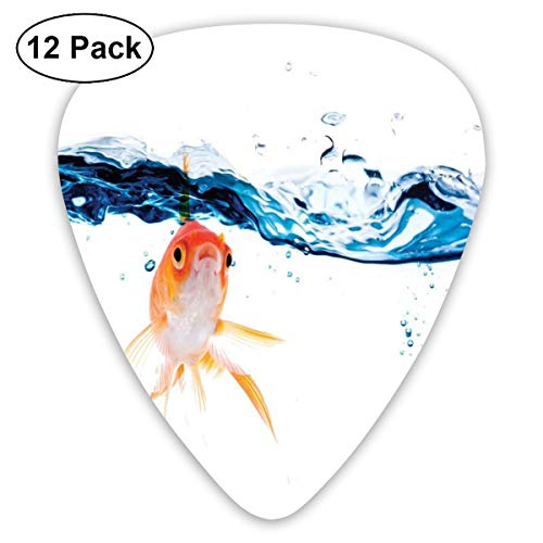 Guitar Picks12pcs Plectrum (0.46mm-0.96mm), Goldfish Swimming Under Surface Of Clear Water Fishbowl Liquid Motion Abstract Style,For Your Guitar or Ukulele
