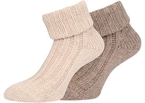 KB Socken Alpakasocken Wintersocken Wollsocken Alpakawolle mit Umschlag Damen 2 Paar (beige/braun, 39-42)