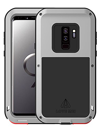 Galaxy S9 Plus Funda, Love Mei Antichoque Al aire libre Tarea pesada Híbrido Aluminio Metal Armadura Antipolvo Carcasas para Samsung Galaxy S9+ 6.2 pulgada SIN Protector de Vidrio Templado (Plata)