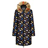 Bravetoshop Women's Mid Length Quilted Jacket Down Winter Warm Coat Thicken Coat with Fur Trim Plush Hood(Multicolor-A,XXXL)