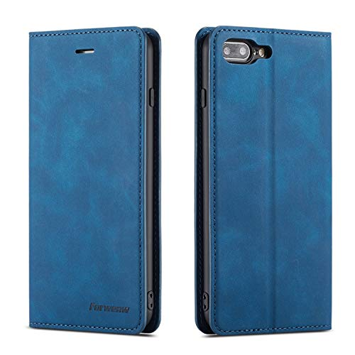 QLTYPRI iPhone 6 Plus 6S Plus Case, Premium PU Leather Cover TPU Bumper with Card Holder Kickstand Hidden Magnetic Adsorption Shockproof Flip Wallet Case for iPhone 6 Plus 6S Plus - Blue