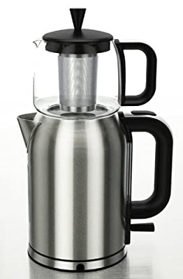 GOLDA INC. Stainless Steel Turkish Tea Maker, Samovar, Electric Kettle, with Boil-Dry Protection