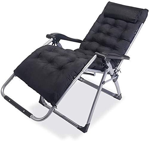 Tumbona plegable para jardín, tumbona de jardín, tumbona para oficina, almuerzo, Siesta silla para balcón, tumbona con almohadilla de algodón (color, con almohadilla), con almohadilla