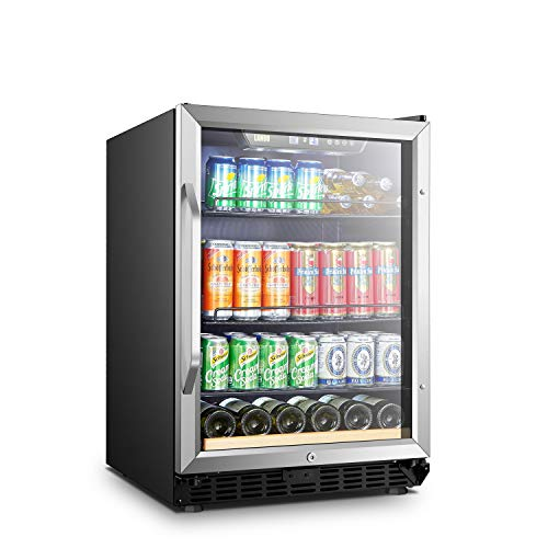 Lanbo Beverage Refrigerator, 110 Cans 6 Bottles Built-in Compressor Drink Cooler
