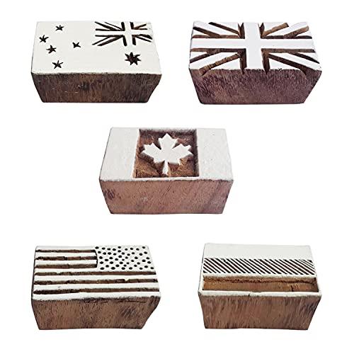 Royal Kraft Hölzern Drucken Stempel (Satz von 5) Henna Stoff Textil Papier Lehm Töpfer Blöcke Htag2208