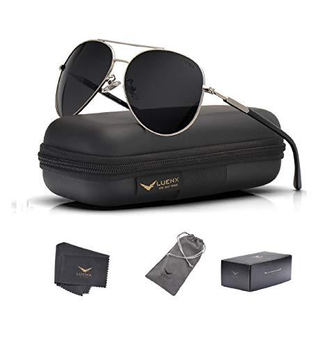LUENX Gafas de sol de aviador polarizadas para mujeres: protección UV 400 - Negro -
