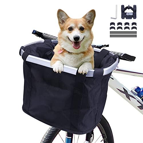 MAIGG Cestino per Bici, Trasportino per Cani da Compagnia Cestini Anteriori per Mountain Bike Borse per la Spesa con Cinture di Sicurezza, Pieghevole Facile da Installare per Donna (Nero)