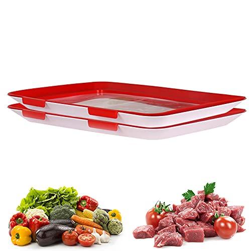Jooheli Aufschnitt-Boxen, 2er Set Lebensmittelkonservierung Tablett, Aufschnittbox Stapelbar und Wiederverwendbar, Frischhaltedosen mit Deckel für den Aufbewahrung Gemüse und Fleisch den Kühlschrank