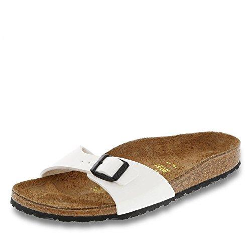 Birkenstock Schuhe Madrid Birko-Flor Lack Schmal White (240863) 39 Weiss