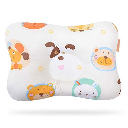 Migimi Almohada estereotipada para bebé, almohada antiexcéntrica, almohada de bebé de algodón puro, transpirable, malla de algodón orgánico, almohada de dibujos animados, animales (amarillo)