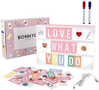 Caja de Luz A4 Rosa con 300 Letras, Divertidos Emojis y 2 Rotuladores   Ñ y Ç Incluidas  Cartel Luminoso LED Ideal para Decoración Hogar, Habitación, Oficina   Regalo Original para Niñas, Mujeres