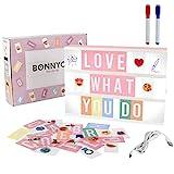 Caja de Luz A4 Rosa con 300 Letras, Divertidos Emojis y 2 Rotuladores | Ñ y Ç Incluidas| Cartel...