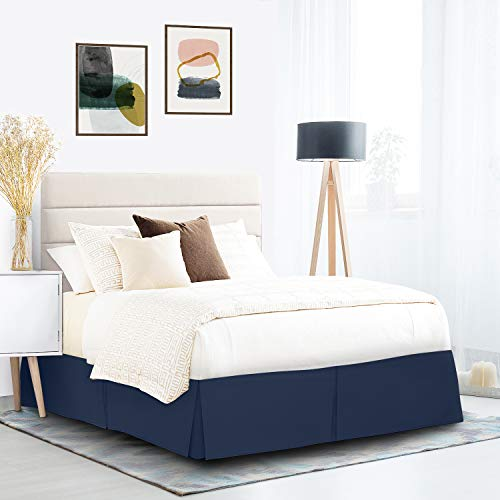 """Pleated Bed Skirt, Easy Fit Bed Skirt, 14"""" Inch Tailored Drop Bed Skirt, Soft Double Brushed Premium Microfiber Ruffle Bed Skirt, Luxury Bedskirt, Hotel Quality Bed Ruffle, Queen Bed Skirt Dark Blue"""