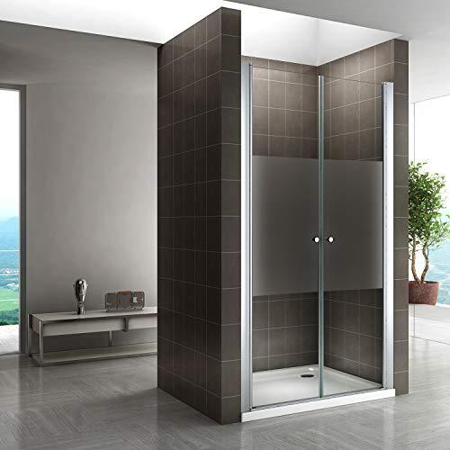 i-flair 180 cm Hohe Duschtür aus 6mm Sicherheitsglas Teilsatiniert mit Nanobeschichtung - Alle Größen (92-96cm)