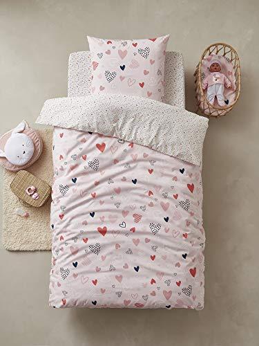 Vertbaudet Parure Housse de Couette + taie d'oreiller Enfant Coeurs en Fete Oeko-Tex® Rose/Multicolore 140X200 - TAIE 63X63