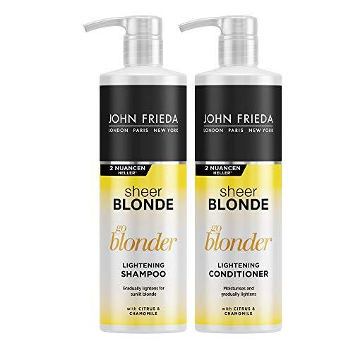John Frieda Go Blonder Vorteils-Set - 2 x 500 ml Shampoo und 2 x 500 ml Conditioner - Special Size - Mit Pumpspender-Aufsatz - Aufhellend