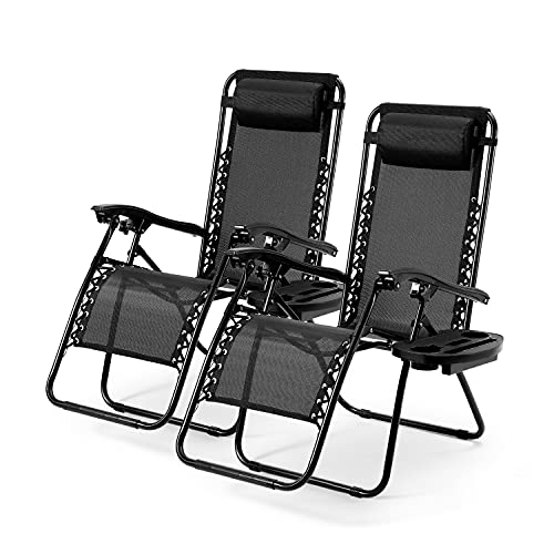 Zero Gravity Chairs Patio Chairs Set of 2 Reclining Beach Chair Adjustable Steel Mesh Zero Gravity Lounge Chair Recliners w/Pillows and Cup Holder Trays for Poolside, Backyard, Beach and Camping
