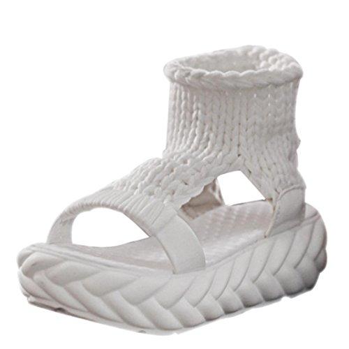 FNKDOR Damen Sandalen Plateau Schuhe Gestrickte Damenschuhe Sandaletten(38,Weiß)
