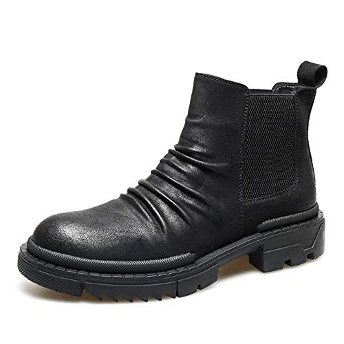 Comfortabel en ontspannen Chelsea Boot For Men enkellaarsjes Pull On Microfiber Leather Block Heel Platform ronde neus Rubber Sole elastische zijkanten Slouchy Vamp hjm
