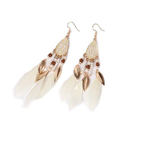 YAZILIND anzuelo aretes bohemio estilo perla plumas hipoalergénicos adornos joyería mujeres regalo