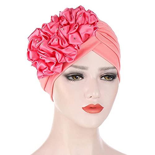 juntao Big Flowers Turbans for Women - Pañuelo elástico para la cabeza musulmana para mujer, gorro para mujer, accesorios para el cabello (color: 6)