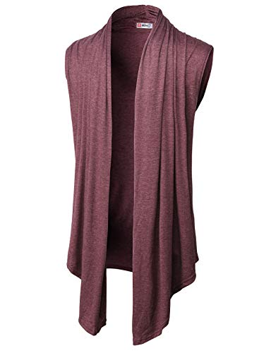 H2H Mens Casual Shawl Collar Open Front Sleeveless Long Cardigan Vest Burgundy US S/Asia M (CMOCASL01)