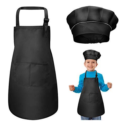 WEONE Tablier Enfant et Chapeau de Chef Set, Réglables Tabliers de Cuisine avec 2 Poches pour Filles Garçons, Bambin Tablier de Chef de Jardin pour Cuisson Peinture l'artisanat (7-13 Ans) (Noir)