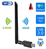 EasyULT WLAN Stick, USB 3.0 WLAN Adapter 1200Mbps WiFi Dongle High Speed 802.11ac 5dBi Dualband 2.4/5 GHz Wireless Netzwerk Adapter Antenne WiFi Empfänger für Windows/Mac OS/Linux/Desktop/PC/Laptop