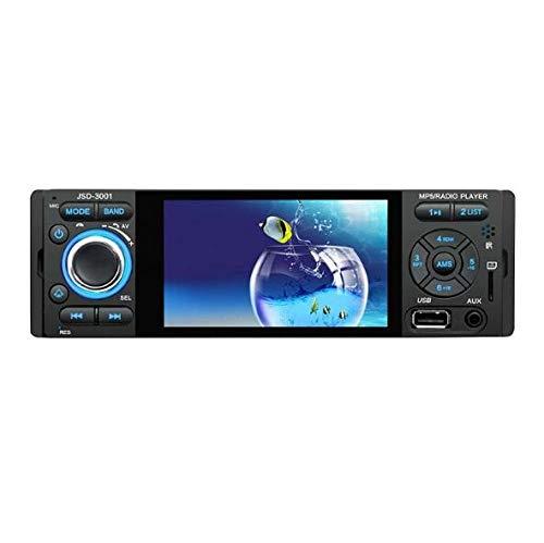Autoradio Bluetooth 1DIN, Riloer Touch screen HD da 4 pollici Multimedia Lettore MP5 Controllo del volante Radio FM Funzione TF card a mano libera, con telecomando
