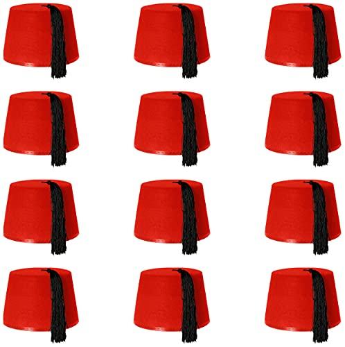 costume da bagno donna araba ILOVEFANCYDRESS 12 cappelli rossi KUKI FEZ accessori per costume da bagno con nastro nero – cappello in feltro per uomini e donne ideale per la guerra fredda russo