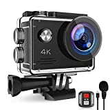 4K 20MP Action Camera, WiFi Underwater Cameras with EIS External Microphone Remote Control 170° Wide Angle Waterproof Camera with 2 Batteries and Mounting Accessories Kit