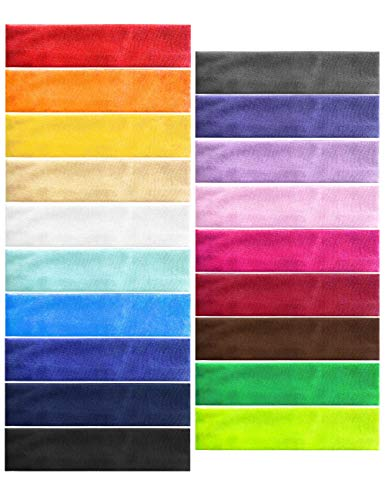 Headbands Pack of 19 PorsMing Exercise Bands Sweat Bands Hair Bands Elastic Stretch Head Wraps for Women Men Girls Yoga Workout Gym Sports Fitness Non Slip and Slide Fashion Colors