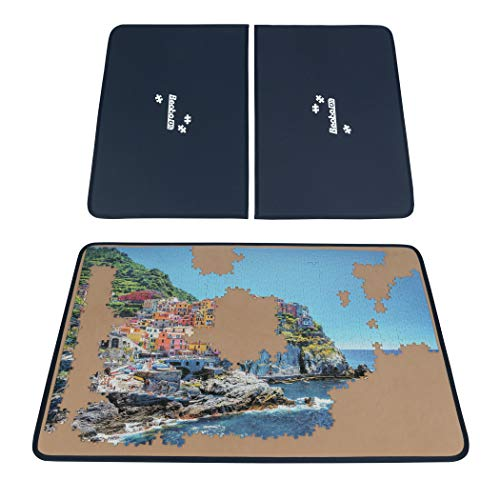Becko Jigsaw Puzzle Board with Covers Portable Puzzle Mat for Puzzle Storage Puzzle Saver, Non-Slip Surface, Up to 1000 Pieces (Blue/Khaki)