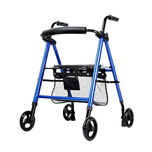 Andador Walker de 4 Ruedas Walker asiste al Anciano Marco de Soporte Plegable Ligero Roller Walker Elderly Walker FANJIANI