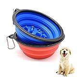 Liwein Viaje Cuenco Perro Plegable,2 Porttil Tazn de Silicona Comedero Lento para Perros Gatos Mascotas Antideslizante Alimentacin Comedero(Azul Rojo)