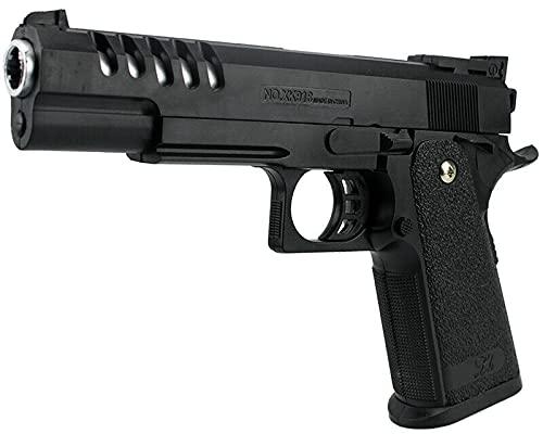 B.W. Softair Gun Airsoft Pistole + Munition | 29718 - Schwarz Voll ABS | 22cm. Inkl. Magazin & unter 0,08 Joule (ab 3 Jahre)