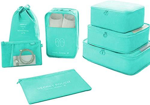 7 PCS Organizadores de Viaje para Maletas, Bolsas de Equipaje Impermeable Cubos Embalaje de Viaje Bolsas de Almacenamiento para Ropa Zapatos, Cosméticos Accesorios (Verde)