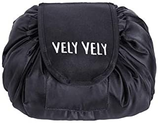 Cosmetic Bag, Makeup Toiletry Jewelry Organizer with Zipper and Drawstrings,Black