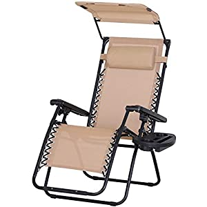 Outsunny Zero Gravity Chair with Side Tray and Canopy Shade - Beige