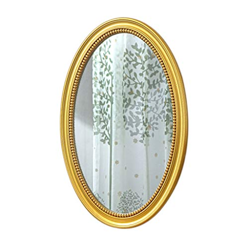 LXJ Dekorativer Wandspiegel, Vintage Geschnitzte Hängende Make-up-Spiegel Für Schlafzimmer Wohnzimmer Kommode, Ovales Antikes Gold Wandspiegel(Size:50×70CM)