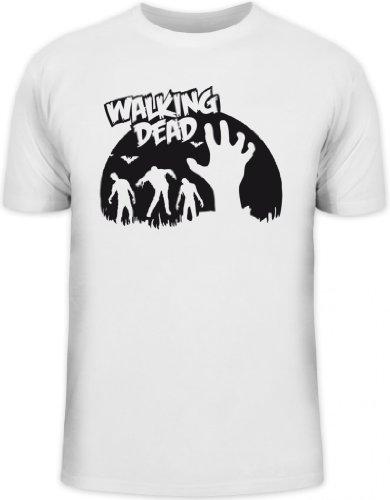 Shirtstreet24, Zombie Walking Dead, Halloween Grusel Herren T-Shirt Fun Shirt Funshirt, Größe: 3XL,weiß