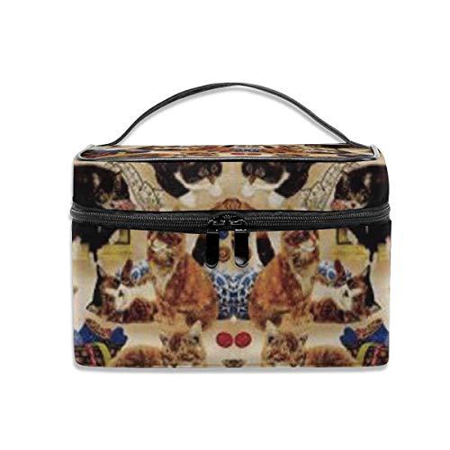 Coudre des Chats Curieux et des notions de Couture Tan Travel Train Case Cosmetic Case Organizer Portable Storage Bag