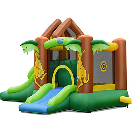 Inflatable Bounce House,Jungle Kangaroo Slide Jumping Castle ,Suitable for Outdoor, Indoor ,Home ,Playground and Garden for children from 3 to 10 Years Old, Equipped with 740W Blower and Storage Bag