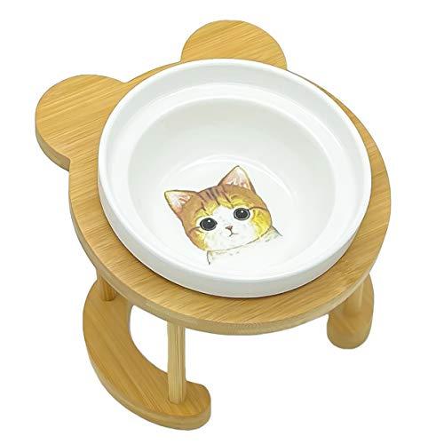 猫食器 ねこ 皿 猫フードボウル ねこのえさ 猫エサ 竹製 陶器 ご飯台 猫用 食器台 猫セラミックボウル (茶トラ猫)