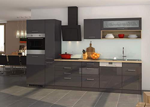 idealShopping GmbH Küchenblock Mailand 330 cm mit Apothekerauszug grau Hochglanz ohne Elektrogeräte
