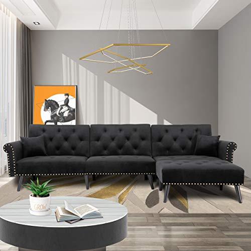 Zushule Sofá seccional convertible con tumbona para sala de estar, cómodo sofá reclinable reversible en forma de L con 3 asientos y almohadas, para apartamento pequeño y espacios, color negro
