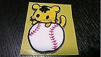 プロ野球応援グッズ(阪神用)かわいいトラと野球ボール刺繍ワッペンシールSボール・野球シーズン コレクション